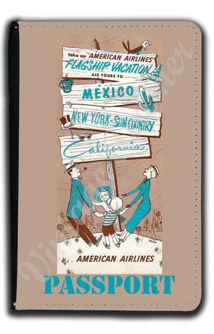 AA 1950's AA Vacations Brochure Cover Passport Case