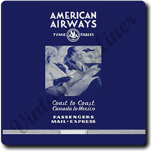 AA 1930's Blue Timetable Cover Square Coaster