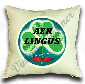 Aer Lingus Vintage Bag Sticker Linen Pillow Case Cover