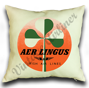 Aer Lingus Green Shamrock Bag Sticker Linen Pillow Case Cover