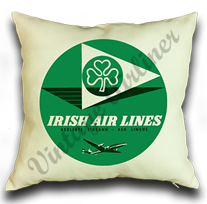 Aer Lingus Vintage 1950's Bag Sticker Linen Pillow Case Cover