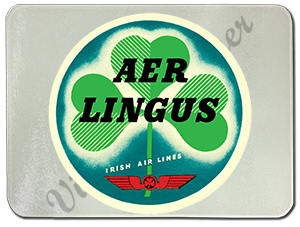 Aer Lingus Vintage Bag Sticker Glass Cutting Board