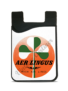 Aer Lingus Irish Air Lines Green and White Shamrock Vintage Bag Sticker Card Caddy
