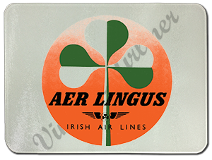 Aer Lingus Vintage Green and White Bag Sticker Glass Cutting Board