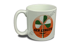 Aer Lingus Green and White Shamrock Bag Sticker 20 oz. Coffee Mug