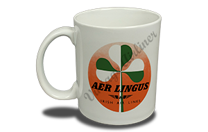 Aer Lingus Green and White Shamrock Bag Sticker 11 oz. Coffee Mug