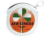 Aer Lingus Green and White Shamrock Vintage Bag Sticker Round Coin Purse