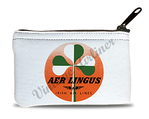 Aer Lingus Green & White Shamrock Bag Sticker Rectangular Coin Purse