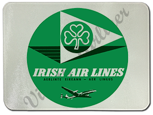 Aer Lingus Vintage 1950's Bag Sticker Glass Cutting Board