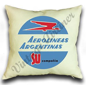 Aerolineas Argentinas 1960's Vintage Bag Sticker Linen Pillow Case Cover
