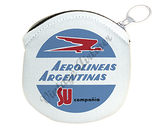 Aerolineas Argentinas 1960's Vintage Bag Sticker Round Coin Purse