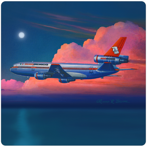 AeroMexico DC10 Square Coaster by Rick Broome