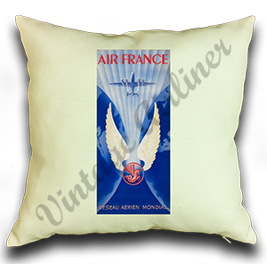 Air France 1950's Bag Sticker Linen Pillow Case Cover