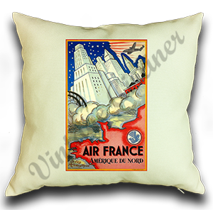 Air France Amérique du Nord Cover Linen Pillow Case Cover