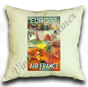 Air France Europe Linen Pillow Case Cover