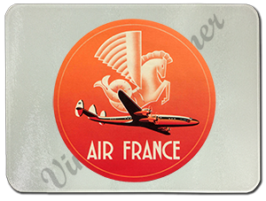 Air France 1950's Vintage Bag Sticker Glass Cutting Board