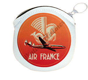 Air France 1950's Vintage Bag Sticker Round Coin Purse