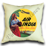 Air India Vintage Bag Sticker Linen Pillow Case Cover