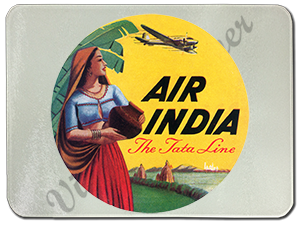 Air India Vintage Bag Sticker Glass Cutting Board
