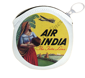 Air India Vintage Bag Sticker Round Coin Purse