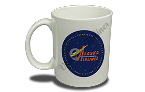 Alaska Airlines Vintage 1960's Bag Sticker 11 oz. Coffee Mug