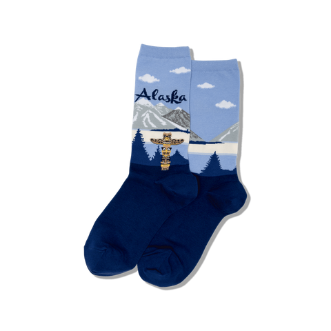 Alaska Women's Travel Themed Crew Socks