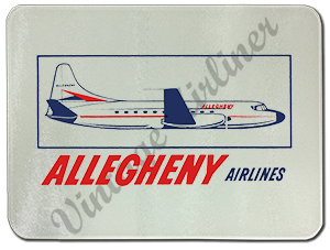 Allegheny Airlines 1960's Vintage Bag Sticker Glass Cutting Board
