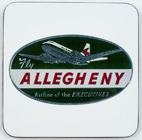 Allegheny Airlines Vintage Baggage Sticker Square Coaster