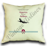 America West First Logo & 737 Logo Linen Pillow Case Cover