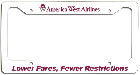 America West Airlines Lower Fares, Fewer Restrictions License Plate Frame