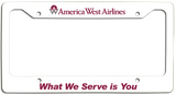 America West Airlines What We Serve is You License Plate Frame