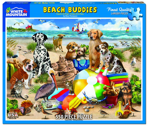 Beach Buddies Puzzle by White Mountain - (550 pieces)