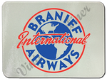 Braniff International Airways 1950's Vintage Bag Sticker Glass Cutting Board