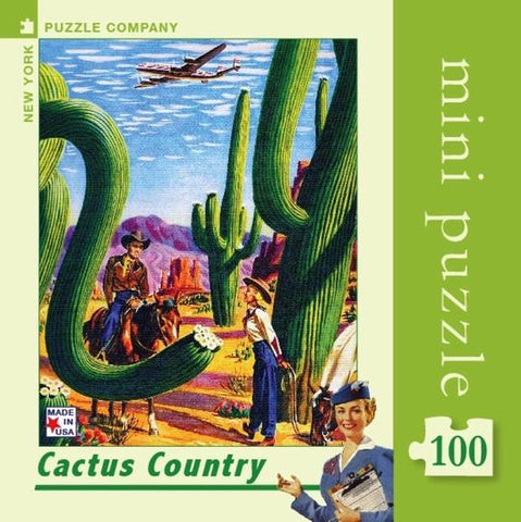 Arizona Cactus Country TWA Travel Poster  Mini Travel Puzzle by New York Puzzle Company - (100 pieces)
