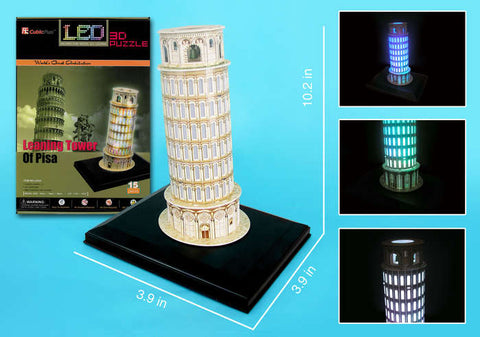 Leaning Tower Of Pisa With Base & Lights 15 Pieces