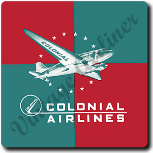 Colonial Airlines Bag Sticker Square Coaster