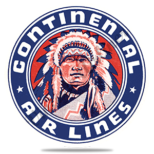 Continental Airlines Indian Chief Bag Sticker Round Coaster