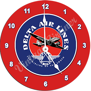 Delta Air Lines 1940's Vintage Bag Sticker Wall Clock
