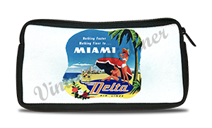 Delta Air Lines Vintage Miami Bag Sticker Travel Pouch