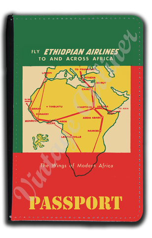 Ethiopian Airlines Vintage Bag Sticker Passport Case