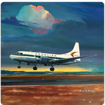 Frontier Airlines 580 Landing Square Coaster by Rick Broome
