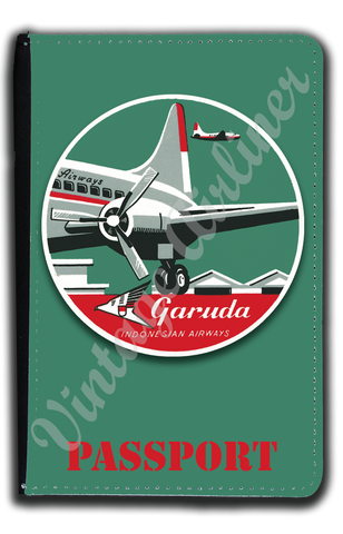 Garuda Indonesian Airlines 1950's Bag Sticker Passport Case