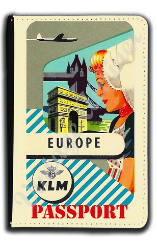 KLM  Vintage Europe  Bag Sticker Passport Case