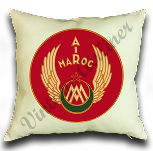 Air Maroc 1940's Vintage Bag Sticker Linen Pillow Case Cover
