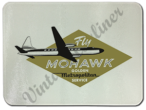 Mohawk Airlines 1950's Vintage Bag Sticker Glass Cutting Board