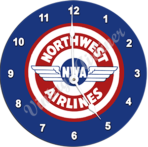 Northwest Airlines Vintage Bag Sticker Wall Clock