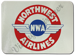Northwest Airlines 1930's Vintage Bag Sticker Glass Cutting Board
