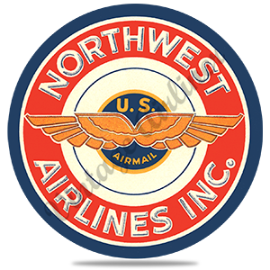 Northwest Airlines Vintage Airmail Sticker Round Coaster