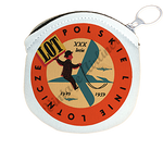 LOT Polish Airlines 1940's Vintage Bag Sticker Round Coin Purse