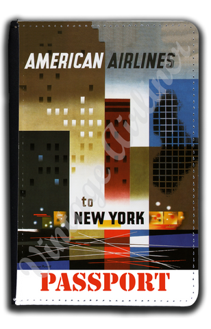 AA New York 1960's Travel Poster Passport Case